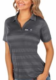 Antigua Seattle Seahawks Womens Grey Compass Short Sleeve Polo Shirt