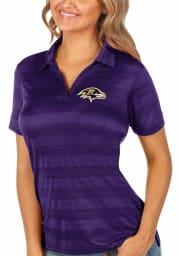 Antigua Baltimore Ravens Womens Purple Compass Short Sleeve Polo Shirt