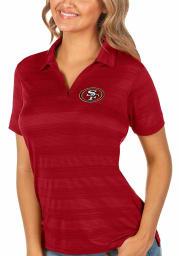 Antigua San Francisco 49ers Womens Red Compass Short Sleeve Polo Shirt