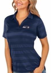 Antigua Seattle Seahawks Womens Navy Blue Compass Short Sleeve Polo Shirt