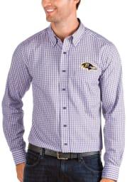 Antigua Baltimore Ravens Mens Purple Structure Long Sleeve Dress Shirt