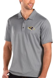 Antigua Baltimore Ravens Mens Grey Balance Short Sleeve Polo