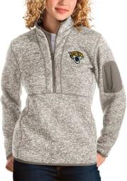 Antigua Jacksonville Jaguars Womens Oatmeal Fortune 1/4 Zip Pullover