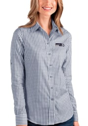 Antigua Seattle Seahawks Womens Structure Long Sleeve Navy Blue Dress Shirt