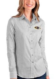 Antigua Baltimore Ravens Womens Structure Long Sleeve Grey Dress Shirt