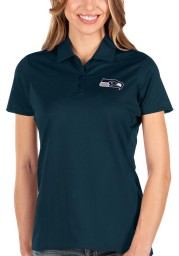 Antigua Seattle Seahawks Womens Navy Blue Balance Short Sleeve Polo Shirt