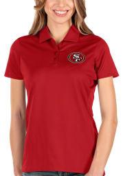 Antigua San Francisco 49ers Womens Red Balance Short Sleeve Polo Shirt