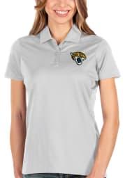 Antigua Jacksonville Jaguars Womens White Balance Short Sleeve Polo Shirt