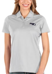 Antigua Seattle Seahawks Womens White Balance Short Sleeve Polo Shirt