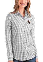 Antigua Wyoming Cowboys Womens Structure Long Sleeve Grey Dress Shirt
