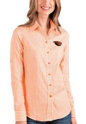 Antigua Oregon State Beavers Womens Structure Long Sleeve Orange Dress Shirt