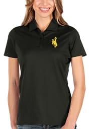 Antigua Wyoming Cowboys Womens Black Balance Short Sleeve Polo Shirt