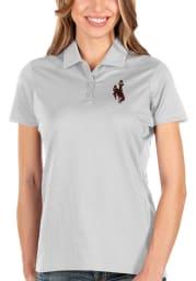 Antigua Wyoming Cowboys Womens White Balance Short Sleeve Polo Shirt