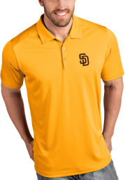 Antigua San Diego Padres Mens Gold Tribute Short Sleeve Polo