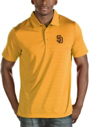 Antigua San Diego Padres Mens Gold Quest Short Sleeve Polo