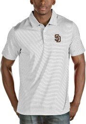 Antigua San Diego Padres Mens White Quest Short Sleeve Polo