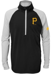 Pittsburgh Pirates Youth Black Destined Long Sleeve Quarter Zip Shirt