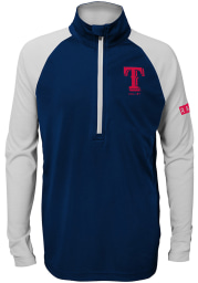 Texas Rangers Youth Navy Blue Destined Long Sleeve Quarter Zip Shirt