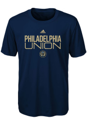 Philadelphia Union Boys Navy Blue Locker Stacked Short Sleeve T-Shirt