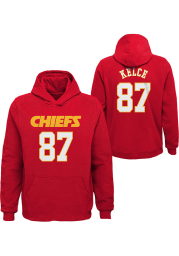 Travis Kelce Outer Stuff Kansas City Chiefs Youth Name and Number Long Sleeve Player Hoodie Red