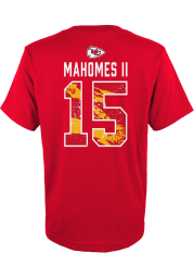 Patrick Mahomes Kansas City Chiefs Youth Red Ripper Name and Number Player Tee