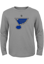 St Louis Blues Youth Grey Primary Logo Long Sleeve T-Shirt