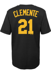 Roberto Clemente Pittsburgh Pirates Boys Black Name and Number Short Sleeve T-Shirt