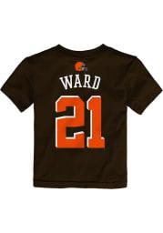 Denzel Ward Cleveland Browns Toddler Brown Mainliner Name and Number Short Sleeve Player T Shirt