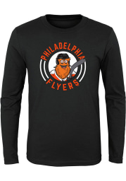 Gritty Outer Stuff Philadelphia Flyers Youth Black Gritty Circle Long Sleeve T-Shirt