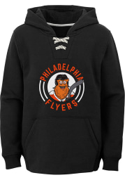 Gritty Outer Stuff Philadelphia Flyers Youth Black Gritty Circle Long Sleeve Hoodie