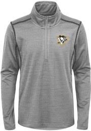 Pittsburgh Penguins Youth Grey Back to the Arena Long Sleeve Quarter Zip Shirt