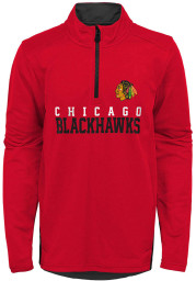 Chicago Blackhawks Boys Red Benchmark Long Sleeve 1/4 Zip Pullover