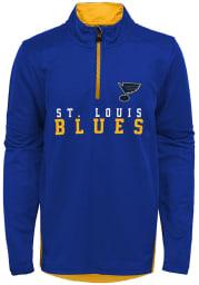 St Louis Blues Boys Blue Benchmark Long Sleeve 1/4 Zip Pullover