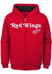 Detroit Red Wings Boys Red Stated Long Sleeve Full Zip Hooded Sweatshirt
