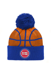 Detroit Pistons Blue Basketball Head Youth Knit Hat