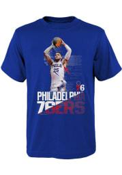 Ben Simmons Philadelphia 76ers Boys Blue Splash Screen Short Sleeve T-Shirt