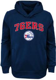 Philadelphia 76ers Youth Navy Blue Loose Ball Long Sleeve Hoodie
