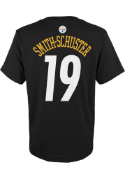 JuJu Smith-Schuster Pittsburgh Steelers Youth Black Mainliner Name and Number Player Tee