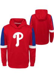 Philadelphia Phillies Youth Red Base Up Long Sleeve Hoodie