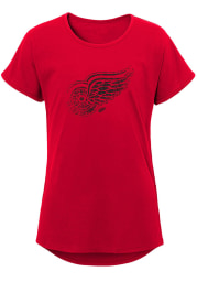 Detroit Red Wings Girls Red Energized Dolman Short Sleeve Tee