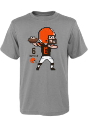 Baker Mayfield Cleveland Browns Youth Grey Pixel Player Tee