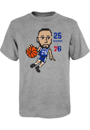 Ben Simmons Philadelphia 76ers Youth Grey Pixel Player Tee
