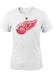 Detroit Red Wings Girls Red Primary Logo Short Sleeve Fashion T-Shirt