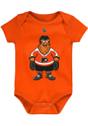Outer Stuff Gritty Philadelphia Flyers Baby Orange Standing Mascot Short Sleeve One Piece