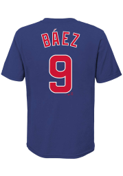 Javier Baez Chicago Cubs Youth Blue Name Number Player Tee