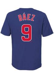 Javier Baez Chicago Cubs Boys Blue Name and Number Short Sleeve T-Shirt