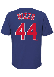 Anthony Rizzo Chicago Cubs Boys Blue Name and Number Short Sleeve T-Shirt