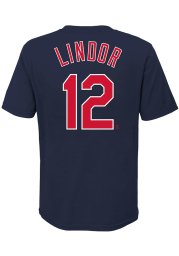 Francisco Lindor Cleveland Indians Youth Navy Blue Name Number Player Tee