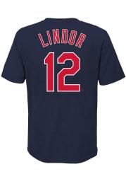 Francisco Lindor Cleveland Indians Boys Navy Blue Name Number Short Sleeve T-Shirt