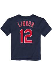 Francisco Lindor Cleveland Indians Toddler Navy Blue Name Number Short Sleeve Player T Shirt